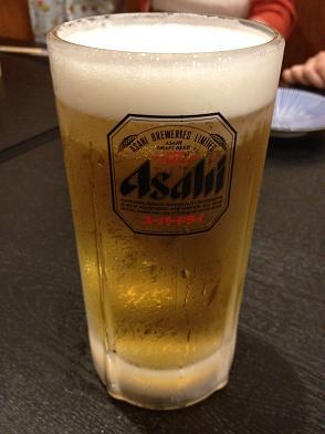 あなご亭まるおか アサヒスーパードライ生ビール.JPG